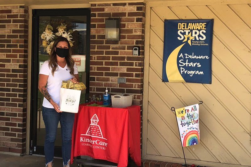 Delaware Stars staff member delivering supplies during COVID-19 pandemic